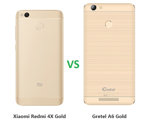 Gretel A6 Vs. Xiaomi Redmi 4X gold back design
