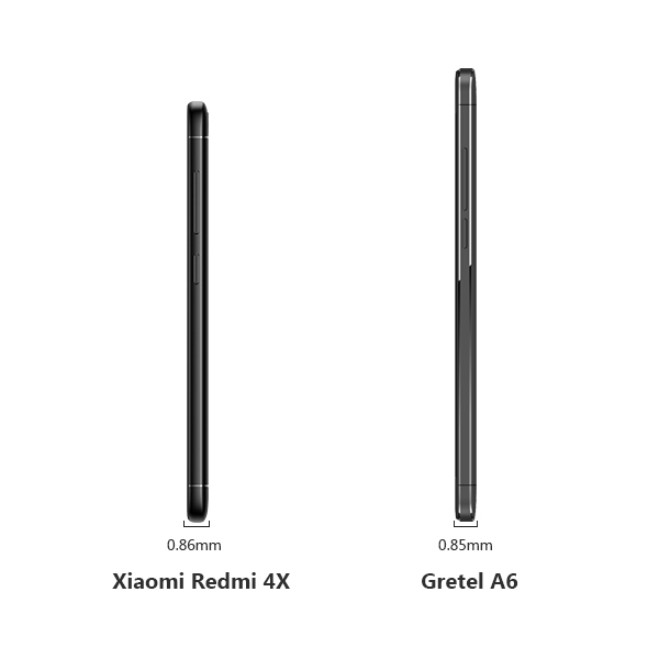 Gretel A6 Vs. Xiaomi Redmi 4X thinckness design