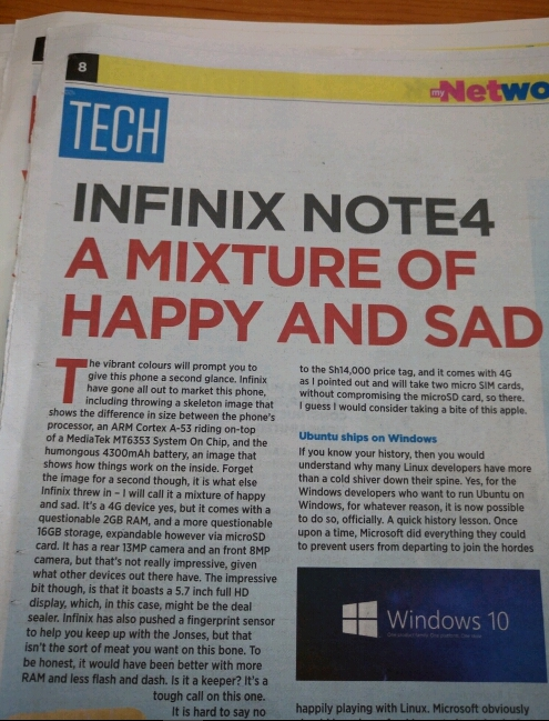 Infinix Note 4 Described in Magazine