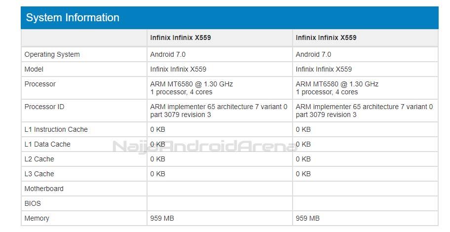 infinix hot 5 x559 geekbench listing