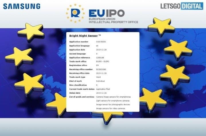 Samsung Bright Night Sensor EUIPO Trademark Filing