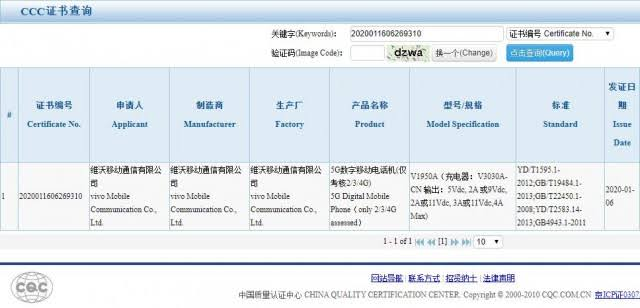 vivo iQOO 3 5G CCC Certification
